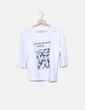 Camiseta blanca print flores Stradivarius