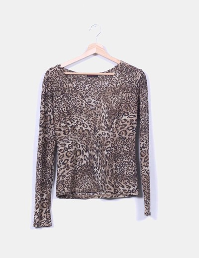 Top estampado animal print con brillos dorados NoName