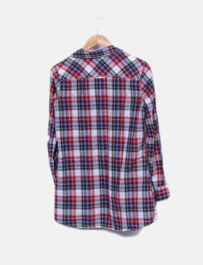 Camisa larga de cuadros multicolor