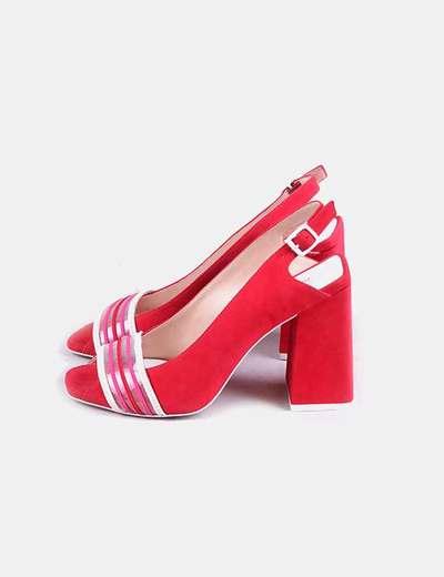 Sandales à talons gold rouge