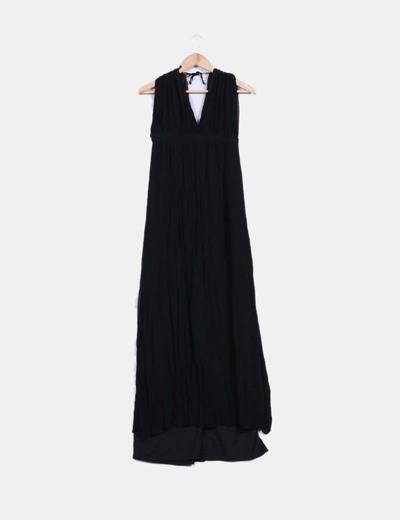 Maxi vestido negro de gasa Mango