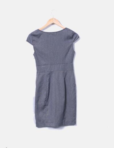 Vestido gris cintura plisada