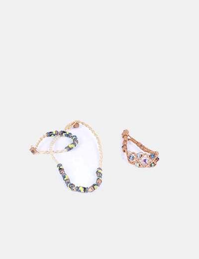 Conjunto collar y pulsera cuerda con abalorios esmaltados NoName