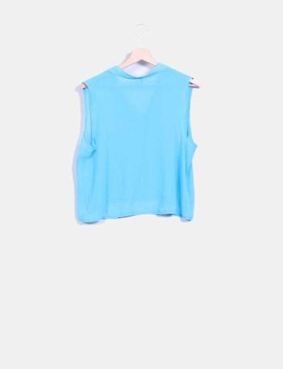 Blusa corta azul turquesa