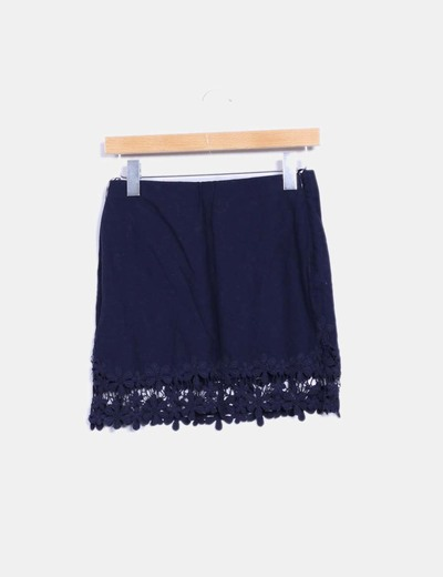 6afbce972c Zara Mini falda lino azul marino con crochet (descuento 70%) - Micolet