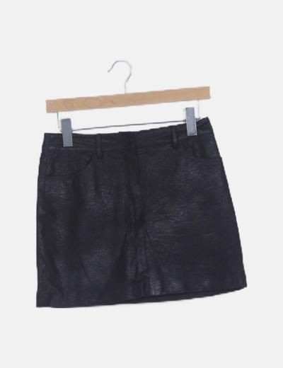 Falda mini texturizada negra