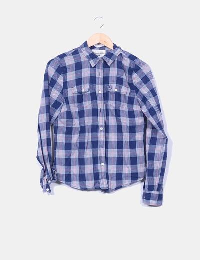 Camisa vintage cuadros azul marino  Vintage