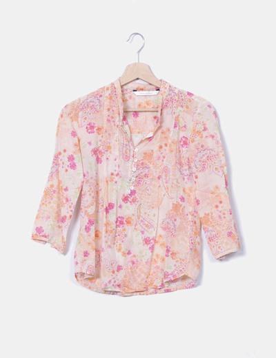 Blusa floral tonos naranjas Zara