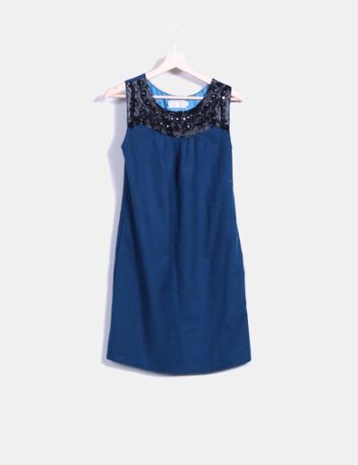 Vestido pichi paño azul petróleo con strass BDBA