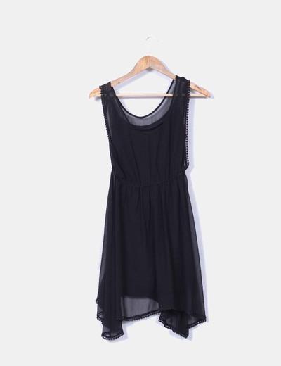 Vestido basico de gasa negro