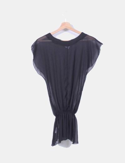 Blusa peplum negra semitransparente