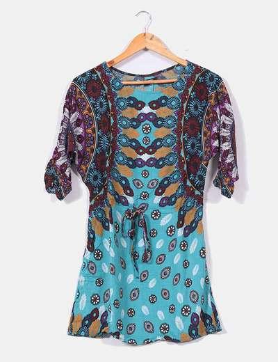 Vestido turquesa floral de manga francesa Suiteblanco