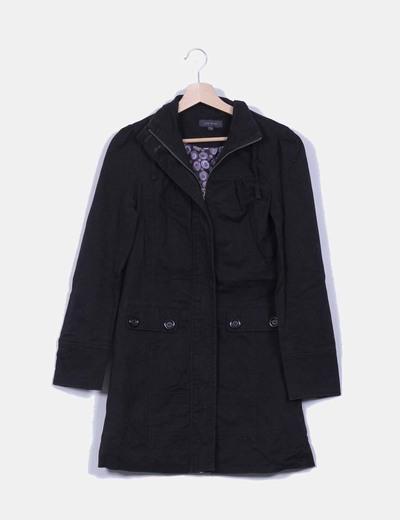Abrigo negro largo Kiabi