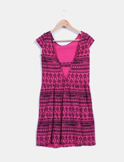 Vestido bicolor con estampado