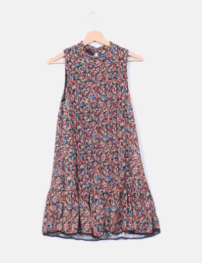 Vestido floral evasé Pull & Bear