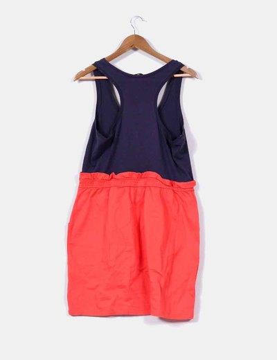 Vestido azul marino con rojo