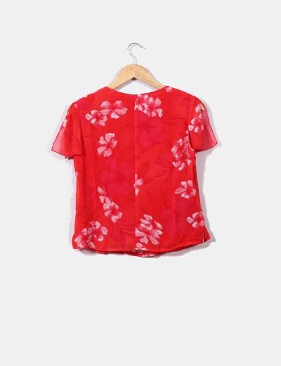 Blusa roja print floral con hombreras