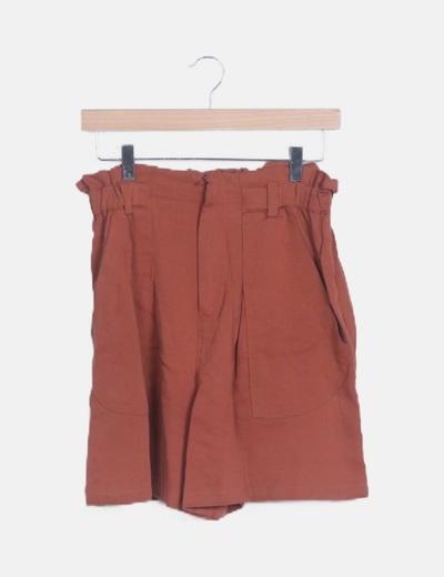 Short high waist fluido color teja