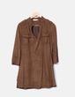 Vestido camisero marrón terciopelado Cortefiel