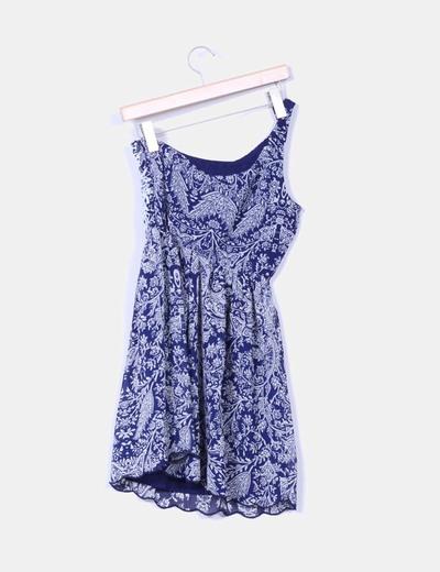 Vestio azul marino estampado escote asimetrico