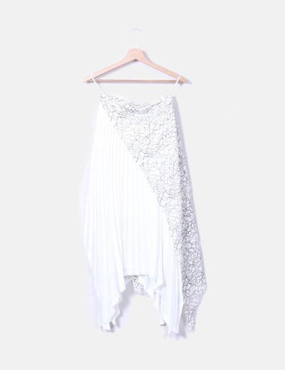 Falda plisada blanca combinada Teria Yabar