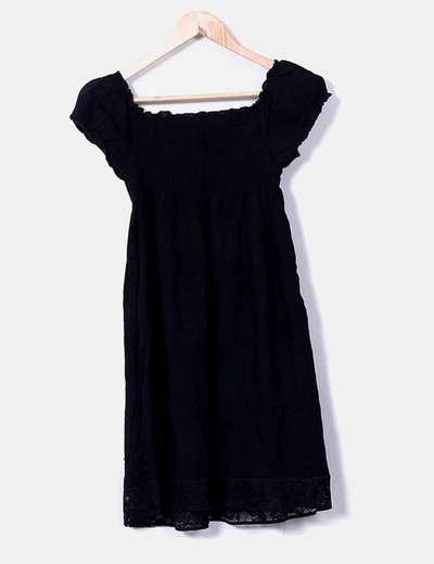 Vestido negro con goma