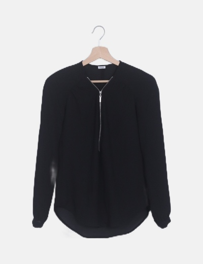 Blusa negra manga larga fluida