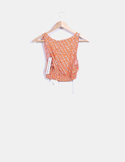 Top crop naranja estampado