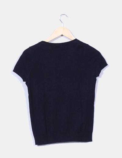 Jersey azul marino fino manga corta