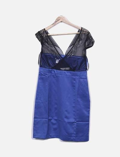 Vestido azul combinado con pailettes Suiteblanco