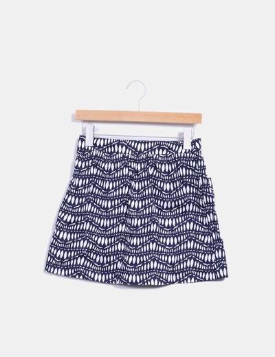 Falda con estampado bicolor