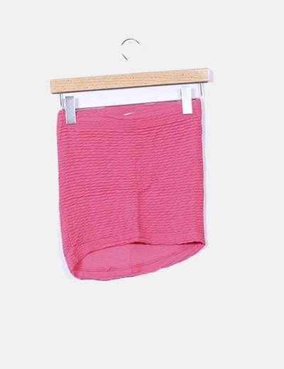 Mini falda elastica fucsia texturizada