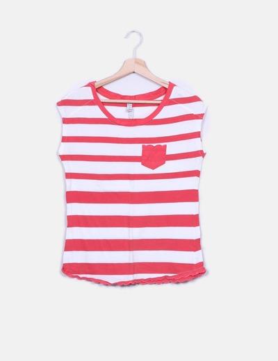 Camiseta de rayas blanca y roja Springfield