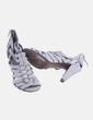 Sandalia de tacón gris texturizada Massimo Dutti