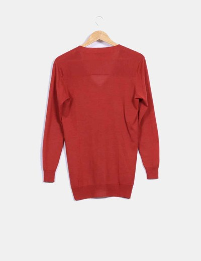 Top tricot manga larga rojo