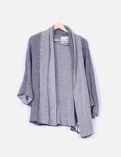 Chaqueta punto bicolor Zara