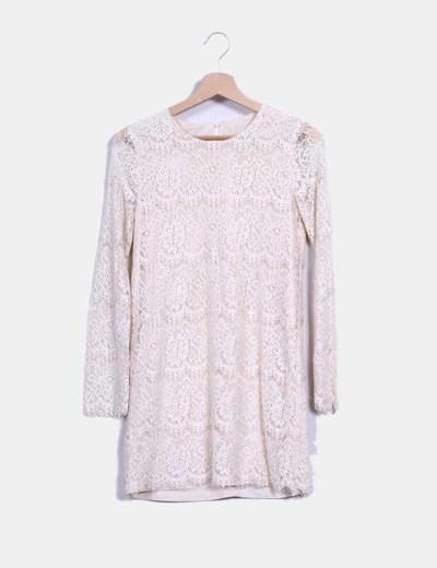 Vestido beige combinado con crochet NoName