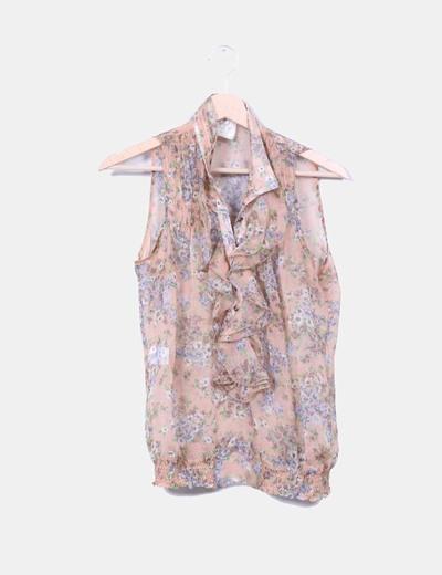 Blusa floral con chorrera Nekane