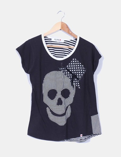 Camiseta negra print calavera Kling