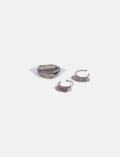 Conjunto de pulsera y pendientes de aro NoName
