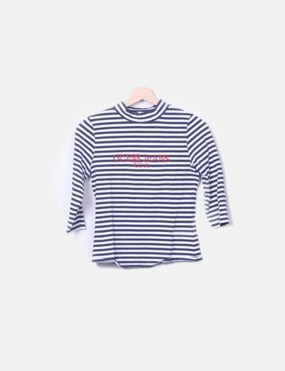 T-shirt blanc et bleu marine rayé Guess
