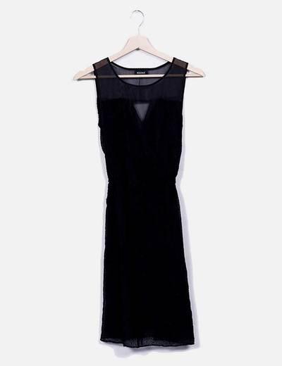 Vestido negro guipur Kookaï