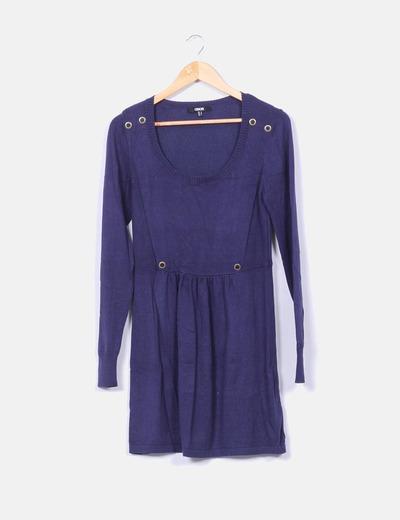 Vestido tricot azul marino escote redondo