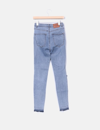 Jeans gris ripped desflecado