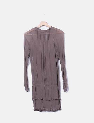 Chiffon brown dress Sisley