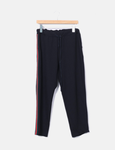 Pantalón baggy negro raya lateral NoName