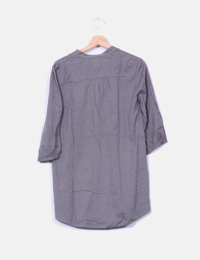 Vestido camisero gris marengo