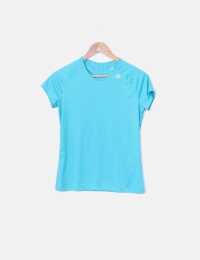 Camiseta azul de manga corta