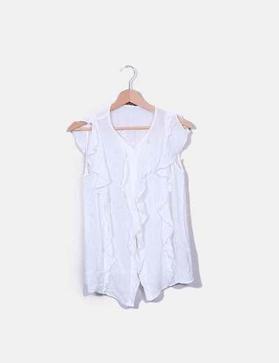 Chemise blanche à volants Massimo Dutti