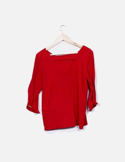 Blusa roja manga largo